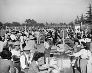 Asian-americans Posters - Japanese-americans At The Santa Anita Poster by Everett