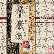 Calligraphy Digital Art Prints - Japanese Bees Print by Carol Leigh