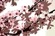 Pink Flower Branch Prints - Japanese Blossom  Print by Sarah O Toole