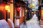 Japanese Lanterns Framed Prints - Japanese Businesses on a Pedestrian Street Framed Print by Jeremy Woodhouse