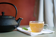Napkin Framed Prints - Japanese Cast Iron Teapot, Hot Tea And Mint Leaves Framed Print by Alexandre Fundone