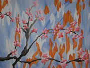 Cherry Blossoms Painting Prints - Japanese Cherry Blossoms Print by Joanna Leack
