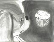 Japanese Puppy Prints - Japanese Chin and Cupcake  Print by Joshua Hullender