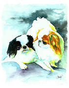 Dog Art Paintings - Japanese Chin Dog by Christy  Freeman