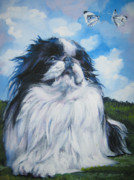 Japanese Chin Puppy Framed Prints - Japanese Chin Framed Print by Lee Ann Shepard