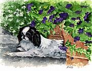 Japanese Puppy Prints - Japanese Chin Puppy and Petunias Print by Kathleen Sepulveda