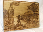 Posters Pyrography - Japanese Collage   Example of custom work  by Doris Lindsey