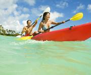 Youthful Photo Posters - Japanese couple kayaking Poster by Dana Edmunds - Printscapes
