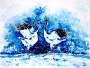 Birdwatching Framed Prints - Japanese cranes Framed Print by Zaira Dzhaubaeva