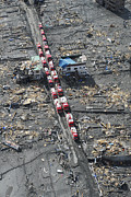 Rubble Photos - Japanese Fire Trucks Line A Road by Stocktrek Images