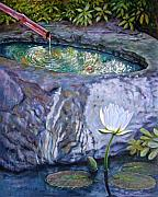 Fountain Paintings - Japanese Fountain with Lily by John Lautermilch