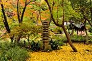 Japanese Garden In Autumn 6 Print by Dean Harte