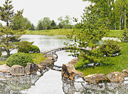 Photography Drawings - Japanese Garden in Ohio by Mindy Newman