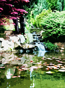 Landscapes Digital Art Metal Prints - Japanese Garden Metal Print by Phill Petrovic