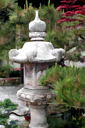 Tree Blossoms Paintings - Japanese Garden Stone Lantern Statue by Elaine Plesser