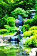 Philadelphia Digital Art Metal Prints - Japanese Garden Waterfall Metal Print by Bill Cannon