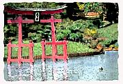 Scenic Mixed Media - Japanese Gate at Botanical Gardens 1 by Linda  Parker