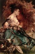 Chest Paintings - Japanese girl by Hans Makart