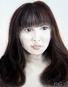 Japanese Girl With Bangs Print by Jim Fitzpatrick