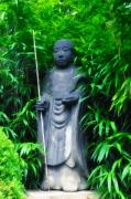 Bamboo House Digital Art Posters - Japanese House Monk Statue Poster by Bill Cannon