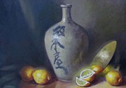 Caligraphy Painting Originals - Japanese Jug by Bart Pass