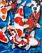 Tropical Fish Tapestries - Textiles Posters - Japanese Koi Pond Poster by Daniel Jean-Baptiste