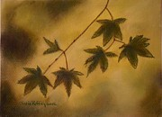 Misty. Pastels Posters - Japanese Maple Leaves Poster by Julie Brugh Riffey