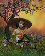 Lute Digital Art - Japanese Musical morning in the garden by John Junek
