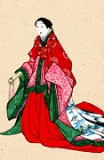 Kimonos Photos - Japanese Noblewoman with Artificial Eyebrows 1878 by Padre Art