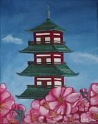 Cherry Blossoms Painting Prints - Japanese Pagoda Print by Spencer Hudon II