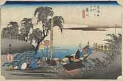 Japanese Landscape Framed Prints - Japanese Print, Print Shows Travelers Framed Print by Everett