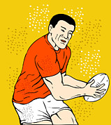 Rugby Framed Prints - Japanese Rugby Player Passing Ball Framed Print by Aloysius Patrimonio