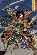Woodcut Photo Framed Prints - Japanese Samurai Framed Print by Granger
