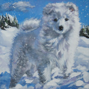 Japanese Puppy Prints - Japanese spitz Print by Lee Ann Shepard