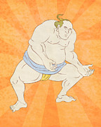 Sumo Digital Art - Japanese sumo wrestler by Aloysius Patrimonio