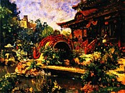 Flowers Impressionist Paintings - Japanese Tea Garden by Pg Reproductions