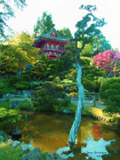 Trees Reflecting In Water Metal Prints - Japanese Tea Garden Temple Metal Print by Jerry  Grissom