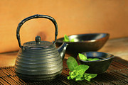Hot Iron Prints - Japanese teapot and cup  Print by Sandra Cunningham