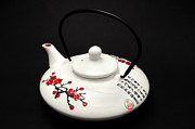 Black Background Art - Japanese teapot by Fabrizio Troiani