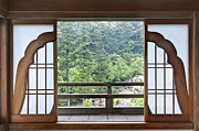Architectural Detail Framed Prints - Japanese Temple Patio Doors Framed Print by Rob Tilley