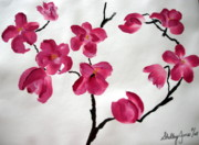 Tree Blossoms Paintings - Japanese Tree by Shelley Jones