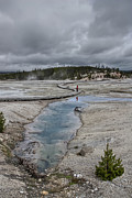 Super Volcano Prints - JAPANESE WOMAN with UMBRELLA at NORRIS GEYSER BASIN Print by Daniel Hagerman