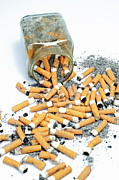 Cigarette Posters - Jar overflowing with cigarette butts Poster by Sami Sarkis