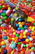 Multicolored Posters - Jar spilling bubblegum with candy Poster by Garry Gay
