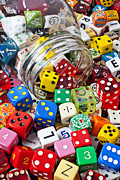 Game Photo Prints - Jar Spilling Dice Print by Garry Gay