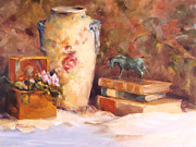 Antiques Paintings - Jar With Blue Handles by Rebecca Justice-Schaab