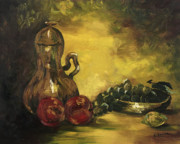 Fruit Bowl Paintings - Jar with Fruit by Rebecca Kimbel