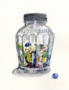 Marbles Paintings - Jar with Marbles Watercolor by Sheryl Heatherly Hawkins