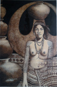 Woman Pyrography Originals - Jar Woman by Jordan Mang-osan