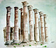 Column Drawings - Jarash column  by Ziyad Mihyar